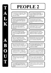 English Worksheet: People -part 2 - 18 conversation cards - upper-intermediate level (editable)