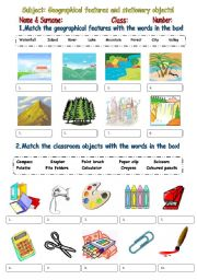 English Worksheet: Geographical features and stationery objects