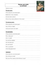 English teaching worksheets: Romeo and Juliet