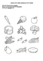 English Worksheets Healthy Unhealthy Food