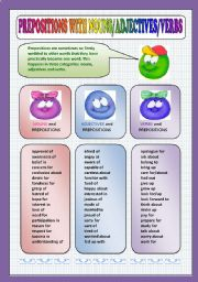 English Worksheets: Preposition + adjectives/nouns/verbs