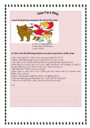 English Worksheets:  The Red Riding Hood 1/3