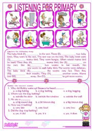 English Worksheets: Listening for Primary 1/3 (audio websites are in description)