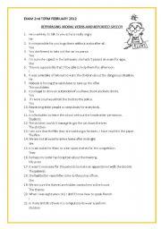 reported speech modals exercises pdf