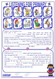 English Worksheets: Listening for Primary 2/3 (audio websites are in description)