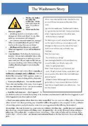 English Worksheets: The Washroom Story  reading & storytelling worksheet  :)