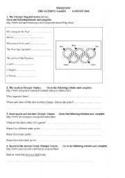 English Worksheet: Webquest: The Olympic Games London 2012