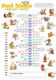 English Worksheet Past Simple Crossword With Garfield Regular Verbs