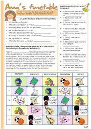 English Worksheet: Anna´s timetable
