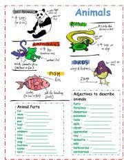 English Worksheet: DESCRIBING ANIMALS!!