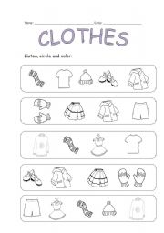 English Worksheets: CLOTHES: Listening activity