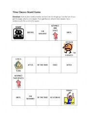 english worksheets time clauses board game. Black Bedroom Furniture Sets. Home Design Ideas