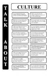 English Worksheet: Culture - 18 conversation cards - upper-intermediate level (editable)