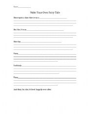 English Worksheets Make Your Own Fairy Tale