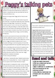 English Worksheets: Peggy�s talking pets