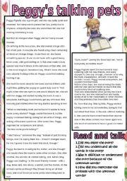 English Worksheet: Peggy�s talking pets