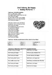 English Worksheets: Song: Don´t worry be happy