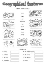 English Worksheet: Geographical features!