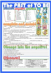 English Worksheets: The past of to be