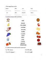 English Worksheets: foods