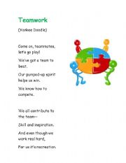 English worksheets: Teamwork - songs