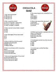 English Worksheet: Coca-Cola Quiz & Reasons to Believe Commercial