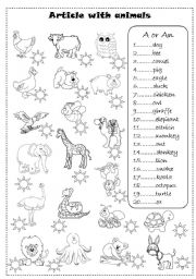 English Worksheets: article with animals