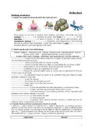 English Worksheets: At the Bank