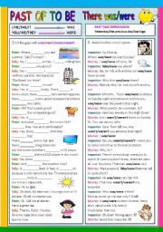 English Worksheet: Past of to be was/were there was/there were