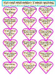 alentine´s Day. Love and relationships - Speaking cards. 1 minute.