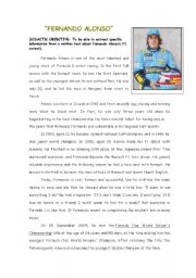 English Worksheets: Reading Comprehension:Fernado Alonso