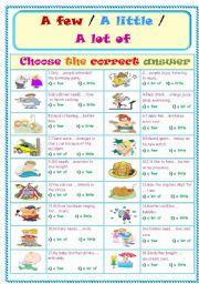 English Worksheet: A little .. A lot of .. A few ..