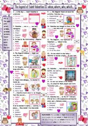 English Worksheet: The legend of Saint Valentine II Quiz. Who, what, where.... (with answers)