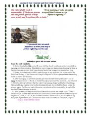 English Worksheets: a boy gives his life to save others