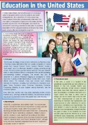 English Worksheet: The Educational System in The United States of America