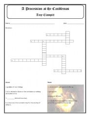 English Worksheets: A Procession at Candlemass by Amy Clampitt