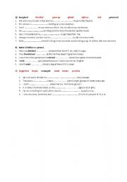 English worksheet: infinitives and gerunds