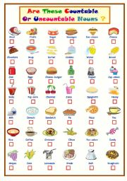 English Worksheet: Countable Or Uncountable Nouns...