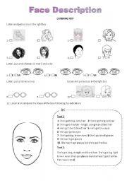 English Worksheets: Face Description