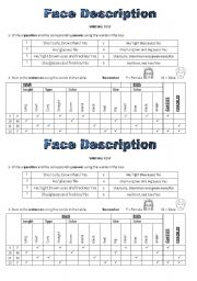 English Worksheets: Face Description Writing