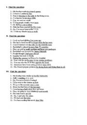 English Worksheets: Find the question for the underlined words