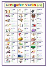 English Worksheet: Irregular Verbs .... Part ( 3 ) From ( l to s )