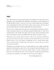 English Worksheet: Amy Winehouse