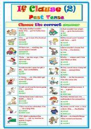 English Worksheet: If Clause (2) Past Tense...