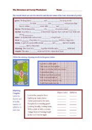 English Worksheet: The Structure of Poetry Worksheet