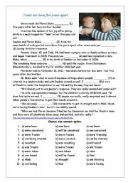 English Worksheet: Twins are born five years apart - tenses revision