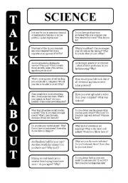 English Worksheet: Science - 18 conversation cards - upper-intermediate level (editable)
