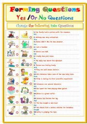 English Worksheets: Forming Questions....Yes Or No Question