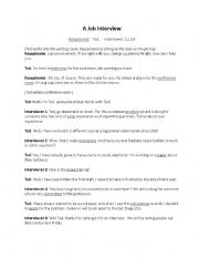 English worksheets: Job Interview Dialogue