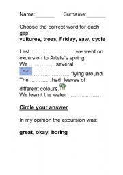 English Worksheets: Excursion